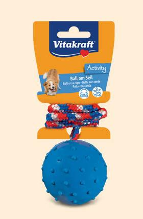 Vitakraft – Palla in gomma dura con corda