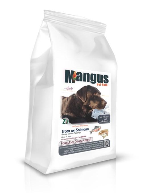 Mangus del Sole - Dog Grain Free Light Trota Salmone Patata Dolce. 12kg