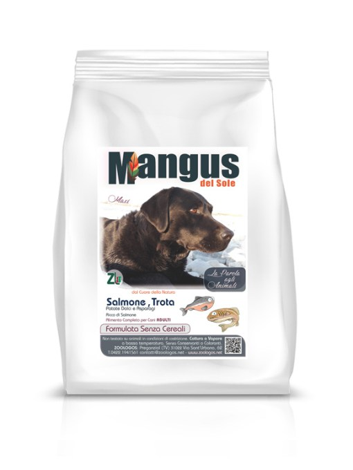 Mangus del Sole - Dog Grain Free Large Breeds Salmone Trota. 2kg