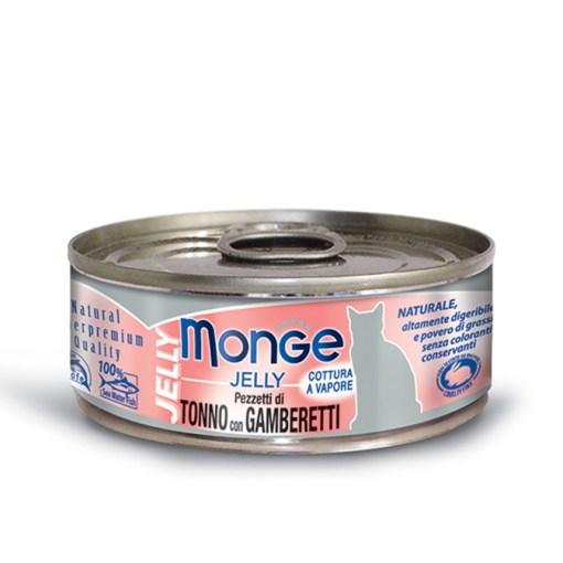Monge - Cat Jelly pezzetti di Tonno del Pacifico con Gamberetti 80gr