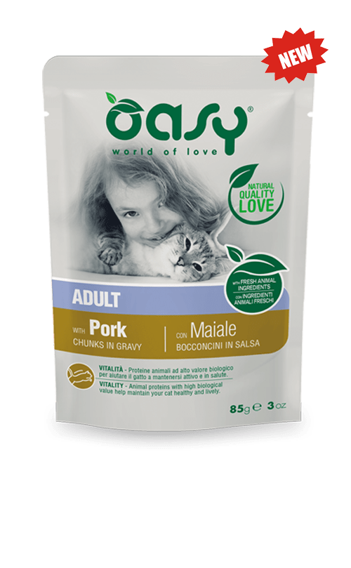 Oasy - Umido Wet Cat Buste Bocconcini Maiale. 85gr