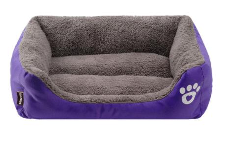 Morbida Cuccia rettangolo cani e gatti. Viola Extra Large- 80x65x17