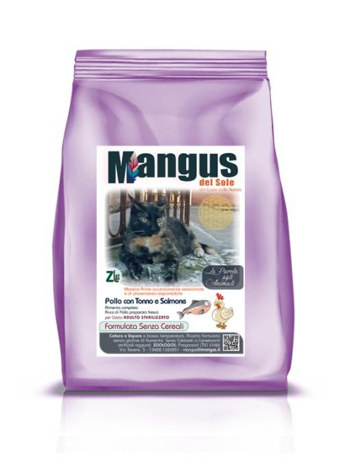 Mangus del Sole - Superfood grain free gatto sterilizzato pollo tonno e salmone. 300gr