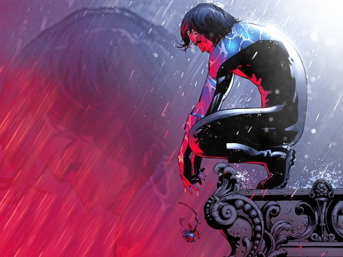 Nightwing drops a flower in the rain