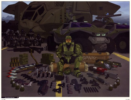master chief and his weapons