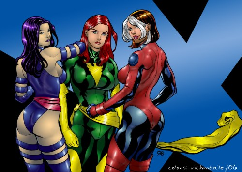 psylocke, rogue and jean grey