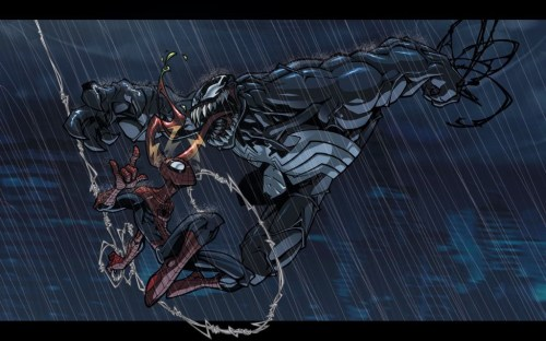 spider-man vs venom in the rain
