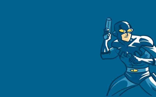 blue beetle with gun