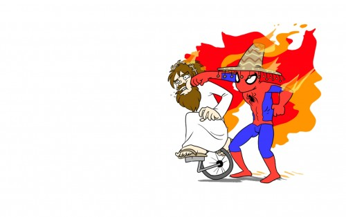 somberro wearing spider-man punches jesus on a unicycle