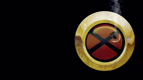 x-men logo – bullet hole