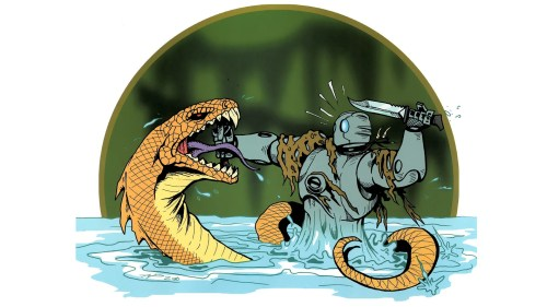 atomic robo vs giant snake