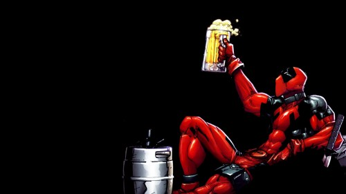 deadpool enjoys beer