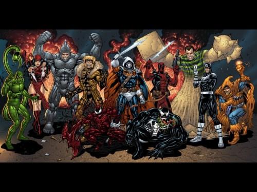 scorpin, elektra, rhino, sabertooth, carnage, venom, taskmaster, deadpool, sandman, bullseye, hobgoblin