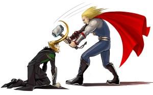 Thor smashes Loki