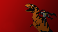 batman on a dinosaur
