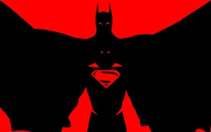 superman and batman in red