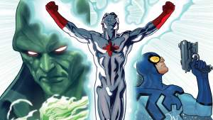 atom, blue beetle and martian manhunter