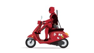 Deadpool on vespa