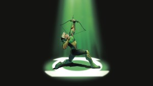 Green Arrow shooting out lights