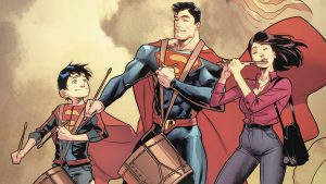 Superman and family playing music