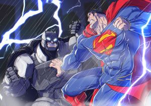 Superman vs Batman in the rain