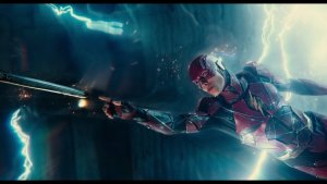The Flash touching a sword