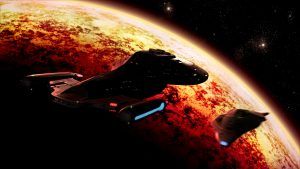 The USS Voyager in orbit around a burning planet while the Delta Flyer is about to explode