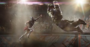 Thor jumping at Hulk