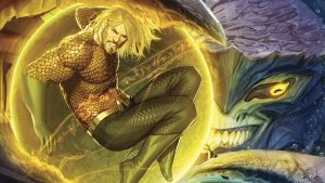 aquaman in a golden bubble