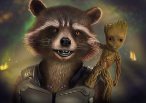 rocket and baby groot artwork lx