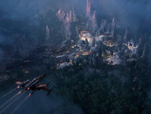 star wars land at night concept art 5k wide