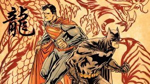 superman and batman investigating a dragon