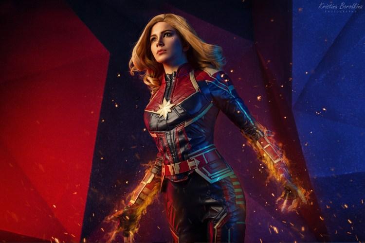 Captain Marvel in motion