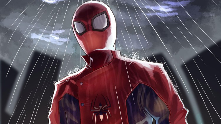 Solo Spider-man in the rain