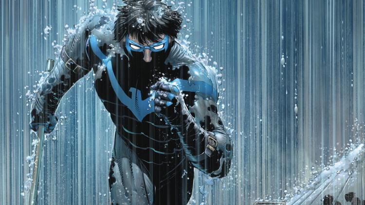 nightwing in the rain