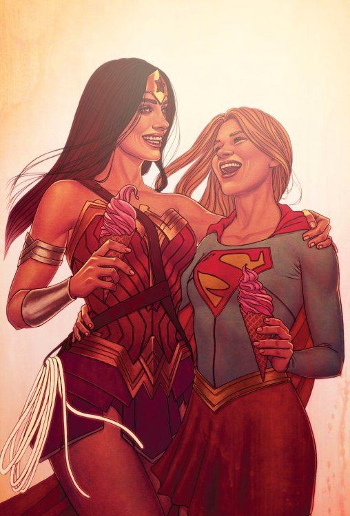 wonder woman and supergirl having a laugh