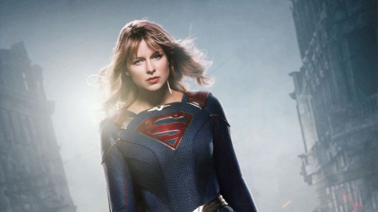 Supergirl in the wind