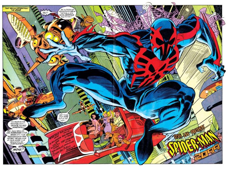 spider-man 2099 with flying cars