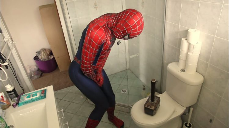 spider-man can't pee in a toilet because thor left his hammer on the toilet