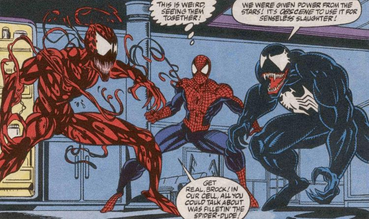 spider-man in a threesome with venom and carnage