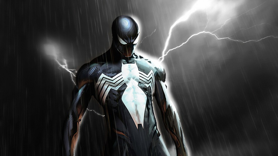electical spider-man in black