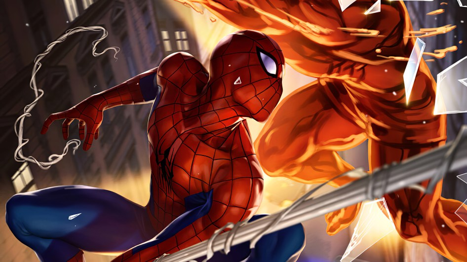 spider-man fighting red man