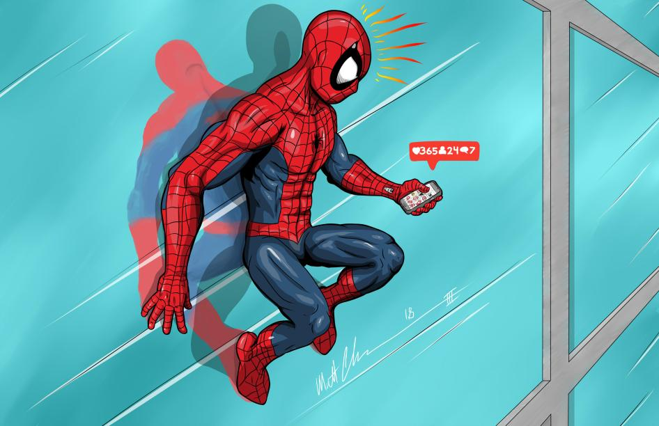 spider-man sending text messages