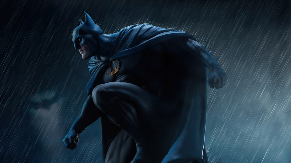 batman in the rain on a thing