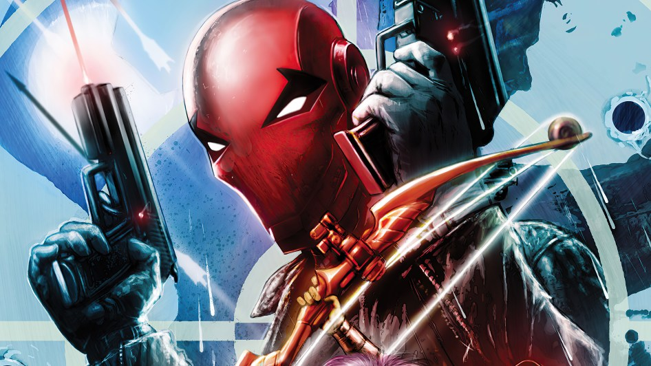 red hood with guns