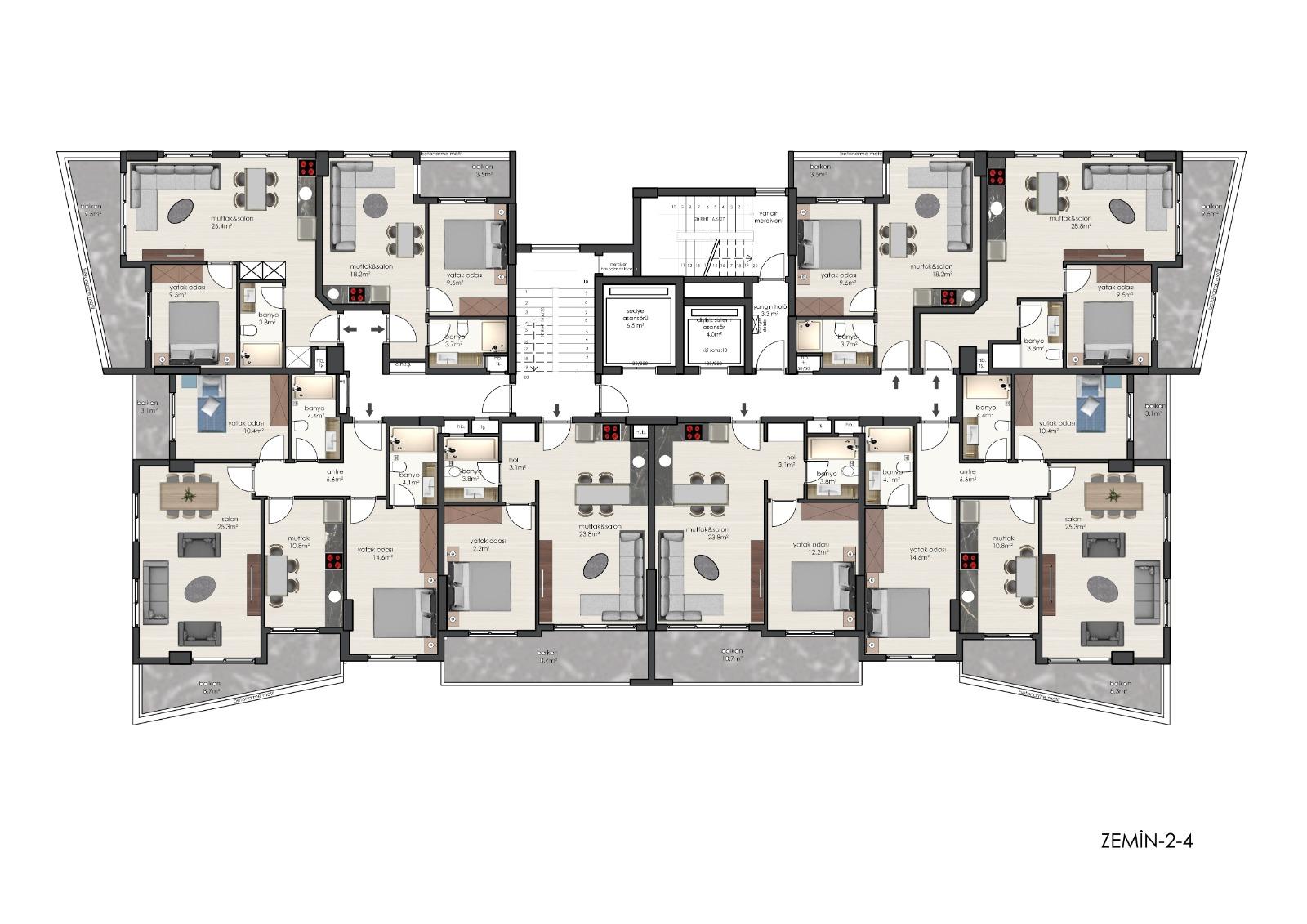 Plan 0, 2, 4 -th floor