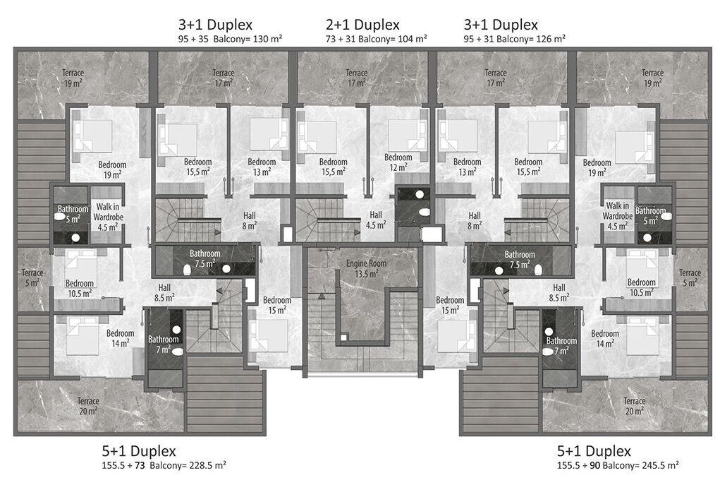 B block duplex 2nd floor plan