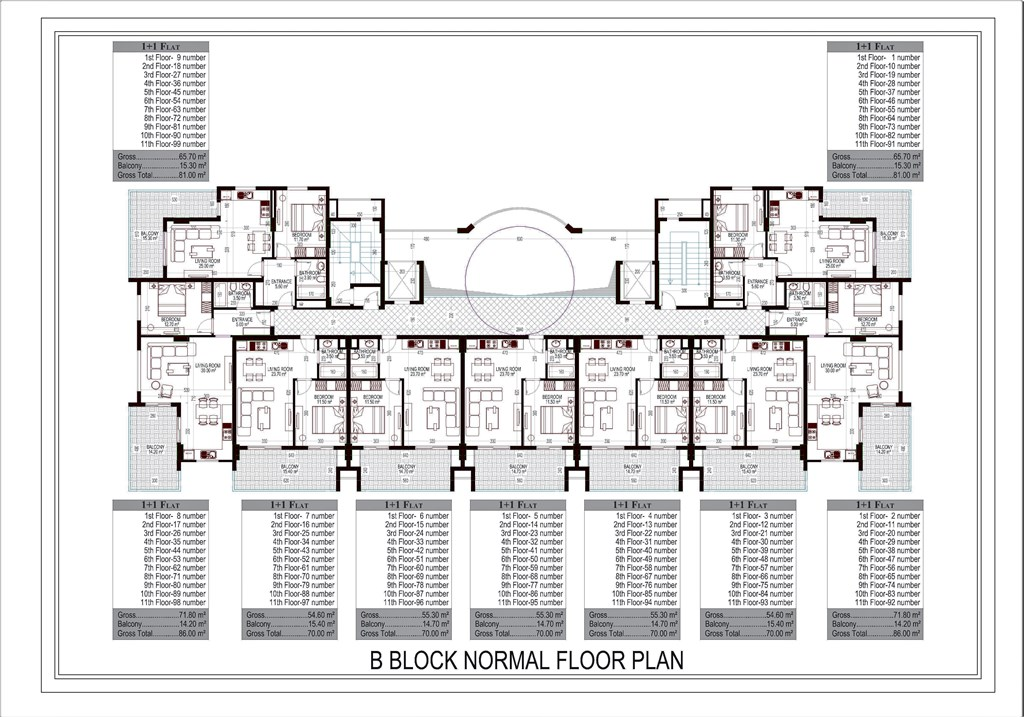 Plan of floors of B block
