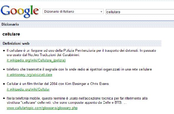 Ecco il dizionario di Google