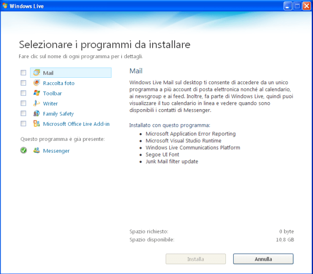 installazione programmi Windows Live
